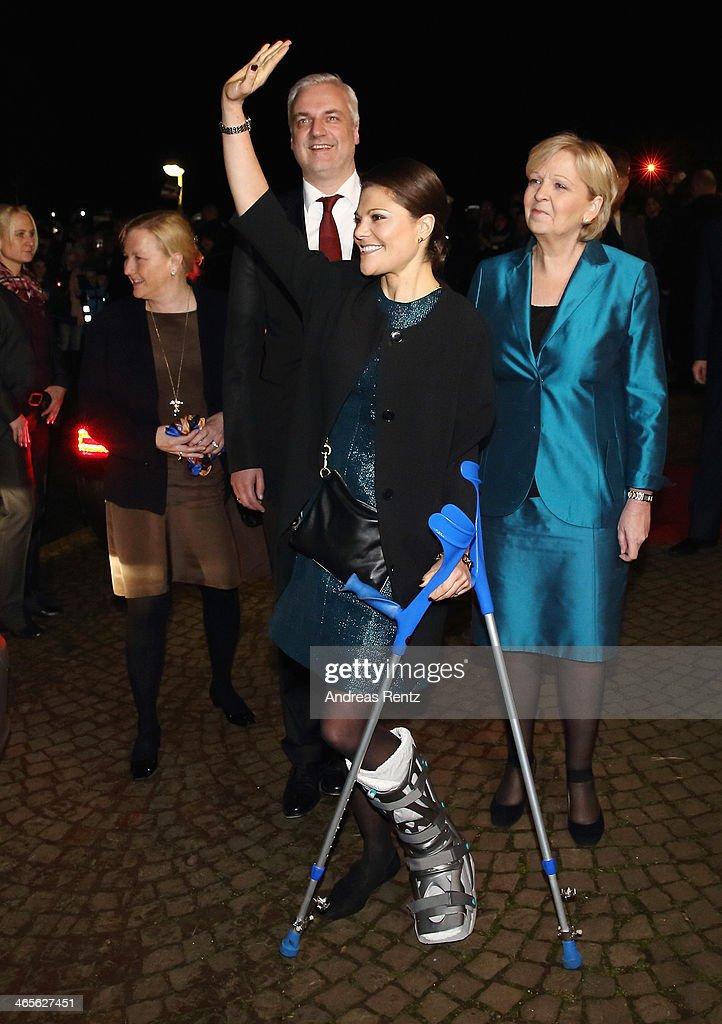 Crown Princess Victoria of Sweden arrives for a dinner with Hannelore Kraft (R), Governor of North Rhine-Westphalia during her visit to North Rhine-Westphalia at Castle of Eller on January 28, 2014 in Dusseldorf, Germany.