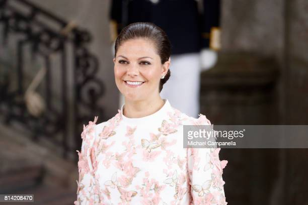 Crown Princess Victoria of Sweden arrives for a thanksgiving service on the occasion of The Crown Princess Victoria of Sweden's 40th birthday...