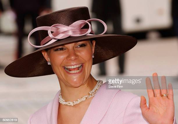Crown Princess Victoria Of Sweden arrives for the Christening of baby girl CatharinaAmalia daughter of Dutch Crown Prince Willem Alexander and...
