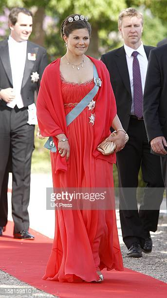 Crown Princess Victoria Of Sweden Arrives For The Wedding Of Prince Joachim Of Denmark And Miss Marie Cavallier At Mogeltonder Church In Mogeltonder,...
