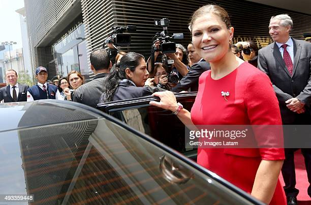 Crown Princess Victoria of Sweden arrives to a H&M store at Jockey Plaza on October 19, 2015 in Lima, Peru.