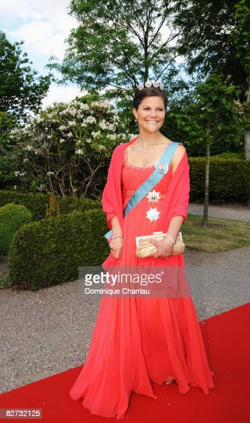 Crown Princess Victoria of Sweden arrives to attend the wedding between Prince Joachim of Denmark and Marie Cavallier on May 24, 2008 at the...