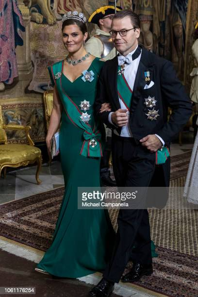 Crown Princess Victoria of Sweden arrives with husband Prince Daniel of Sweden at a gala dinner hosted by the Swedish royal family in connection with...