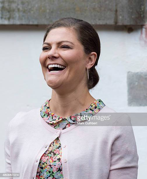 Crown Princess Victoria of Sweden at her 38th birthday celebrations at Solliden on July 14 2015 in Oland Sweden