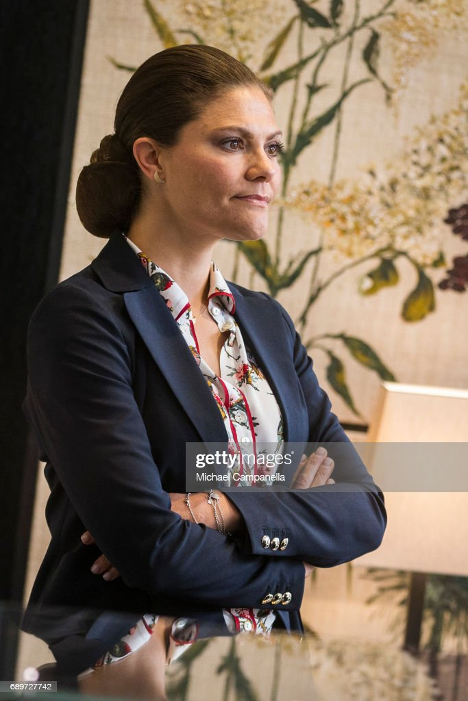 Crown Princess Victoria of Sweden at Ole Lyndggaard Copenhagen store on May 29, 2017 in Stockholm, Sweden.