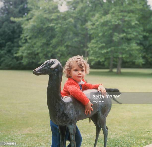Crown Princess Victoria of Sweden at Solliden Castle on her third birthday on July 14 1980