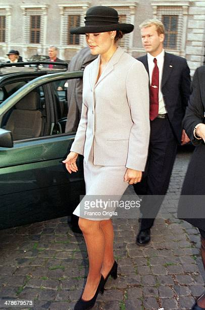 Crown Princess Victoria of Sweden at the Swedish church of St Brigid on an official visit to Rome on November 13 1999 in Rome Italy