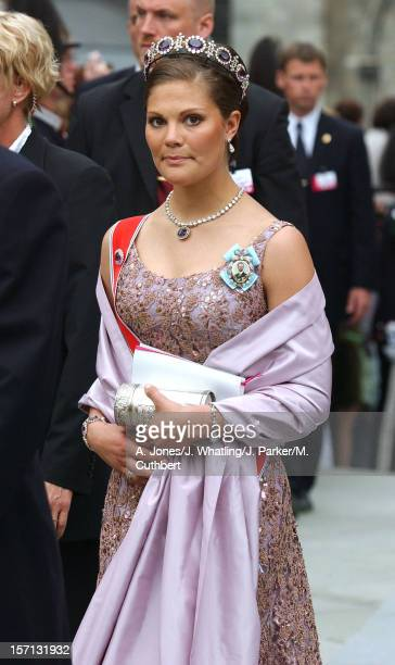 Crown Princess Victoria Of Sweden At The Wedding Of Princess Martha Louise Of Norway And Ari Behn In Trondheim