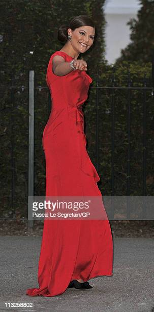 Crown Princess Victoria of Sweden attend a gala PreWedding dinner on the eve of the Royal Wedding of Prince William to Catherine Middleton on April...