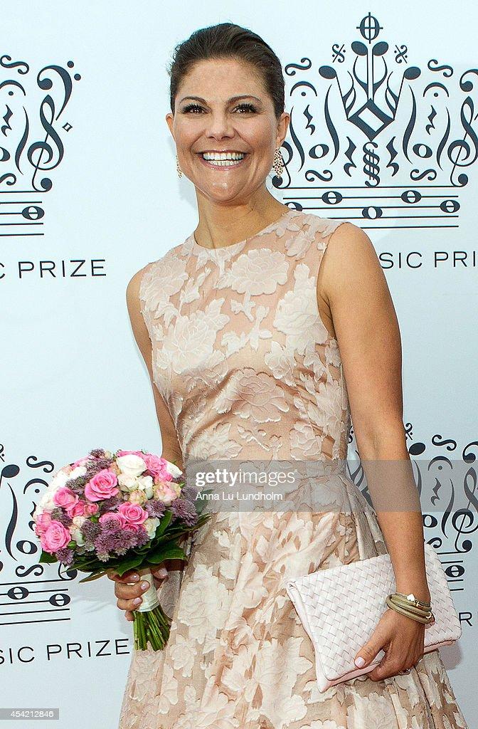 Crown Princess Victoria of Sweden attend Polar Music Prize at Stockholm Concert Hall on August 26, 2014 in Stockholm, Sweden.