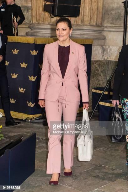 Crown Princess Victoria of Sweden attend the Global Child Forum 2018 at the Stockholm Palace on April 11 2018 in Stockholm Sweden