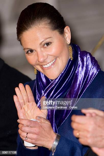 Crown Princess Victoria of Sweden attends a ceremony to illuminate two Christmas trees offered by Sweden to the city of Paris