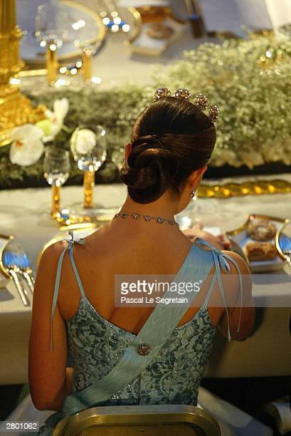 Crown Princess Victoria of Sweden attends a gala banquet following the awarding of the Nobel Prizes at City Hall December 10 2003 in Stockholm Sweden...