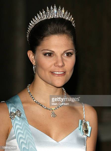 Crown Princess Victoria Of Sweden Attends A Gala Dinner For The Nobel Laureates At The Royal Palace In Stockholm.