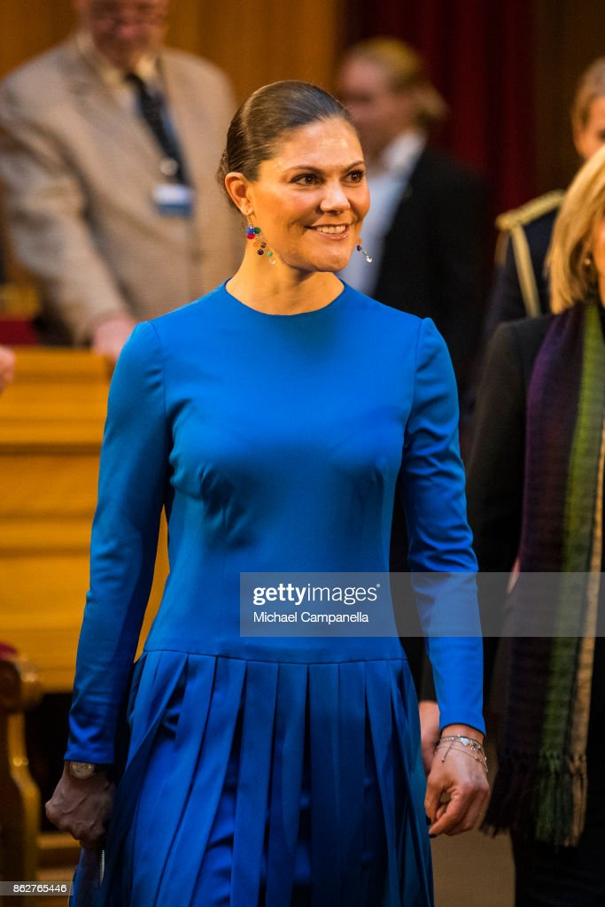 Crown Princess Victoria of Sweden attends a seminar at Riksdag in connection with the centenary of Finnish Independence on October 18, 2017 in Stockholm, Sweden.