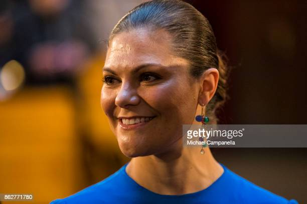 Crown Princess Victoria of Sweden attends a seminar at Riksdag in connection with the centenary of Finnish Independence on October 18 2017 in...