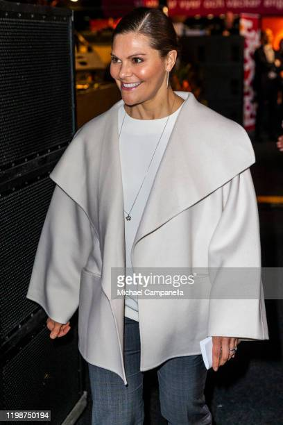 Crown Princess Victoria of Sweden attends a seminar during the Folk and Culture 2020 festival at STIGA Sports Arena on February 5 2020 in Eskilstuna...