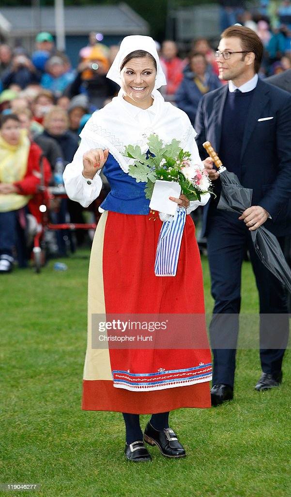 Crown Princess Victoria of Sweden attends an event celebrating her 34th birthday at Borgholm's Idrottsplats on July 14, 2011 in Borgholm, Sweden.