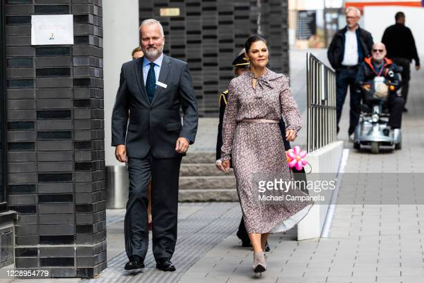 Crown Princess Victoria of Sweden attends an inauguration ceremony for a sculpture of Swedish childrens book author Astrid Lindgren at the Astrid...