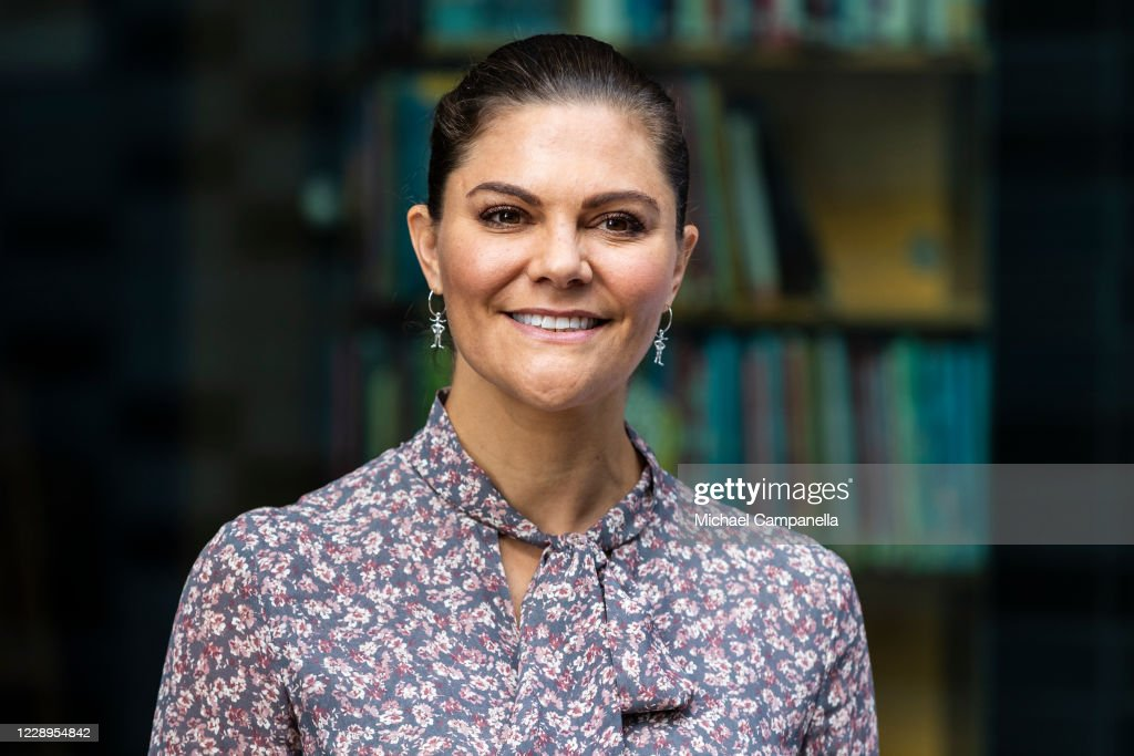 Crown Princess Victoria Of Sweden Attends The Inauguration Of A Sculpture Of Astrid Lindgren : News Photo