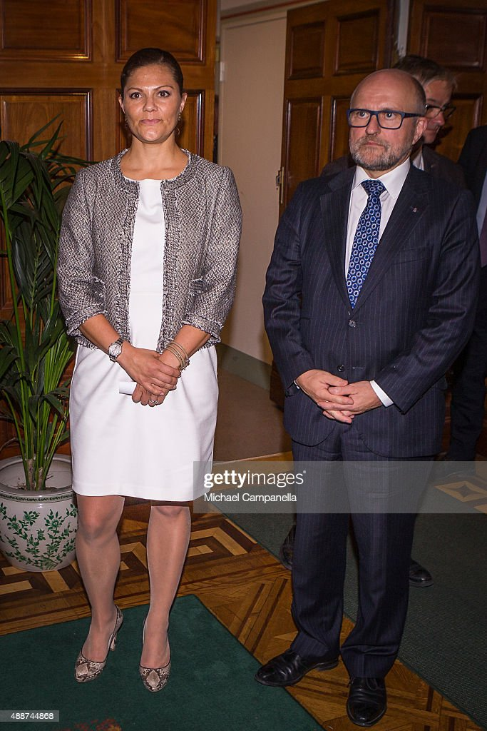 Crown Princess Victoria of Sweden Attends an Opening of an Exhibition : News Photo