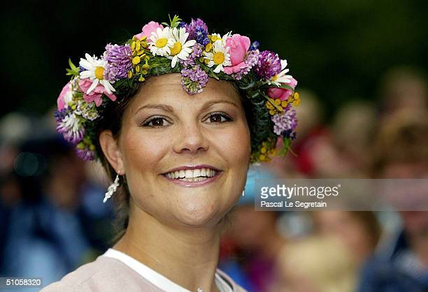 Crown Princess Victoria of Sweden attends celebrations for her 27th birthday with the King and Queen at the Queen's Residence on July 14 2004 in...