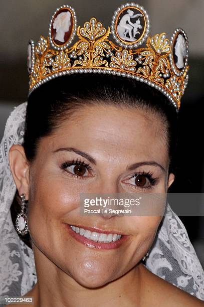 Crown Princess Victoria of Sweden attends her wedding banquet at the Royal Palace on June 19 2010 in Stockholm Sweden