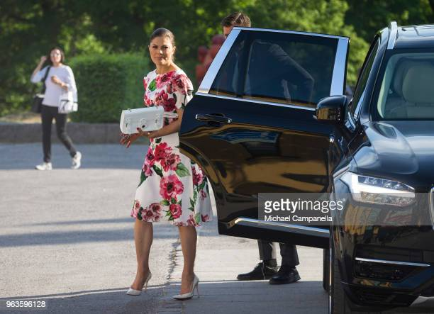 Crown Princess Victoria of Sweden attends the annual meeting of the friends of the National Museum at the Modern Museum on May 29 2018 in Stockholm...