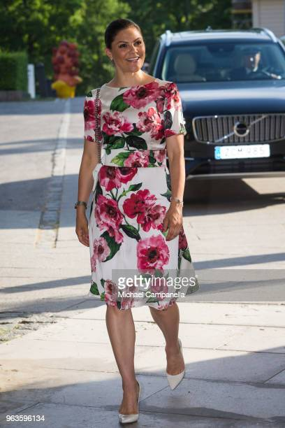 Crown Princess Victoria of Sweden attends the annual meeting of the friends of the National Museum at the Modern Museum on May 29, 2018 in Stockholm,...