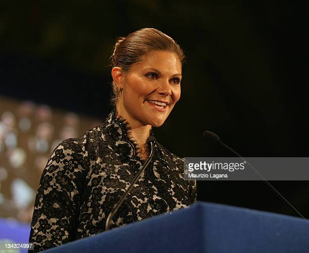 Crown Princess Victoria of Sweden attends the Bonino Prize Ceremony on January 30 2009 in Messina Sicily