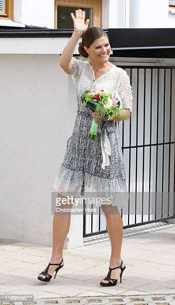 Crown Princess Victoria of Sweden attends the ceremony to unveil the linden trees which she and her husband received for their wedding at City Hall...