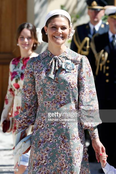 Crown Princess Victoria of Sweden attends the christening of Princess Adrienne of Sweden at Drottningholm Palace Chapel on June 8 2018 in Stockholm...