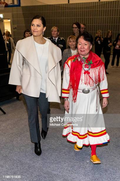 Crown Princess Victoria of Sweden attends the Folk and Culture 2020 festival at STIGA Sports Arena on February 5 2020 in Eskilstuna Sweden