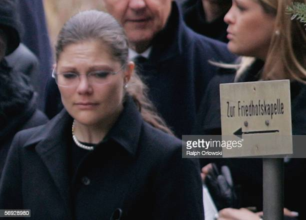 Crown princess Victoria of Sweden attends the funeral service of her uncle on February 24 2006 in Heidelberg Germany The brother of Queen Silvia...
