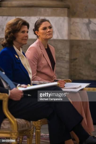 Crown Princess Victoria of Sweden attends the Global Child Forum 2018 at the Stockholm Palace on April 11 2018 in Stockholm Sweden