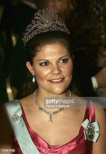 Crown Princess Victoria of Sweden attends the Nobel Banquet at City Hall on December 10, 2004 in Stockholm, Sweden. The prizes were being awarded at...