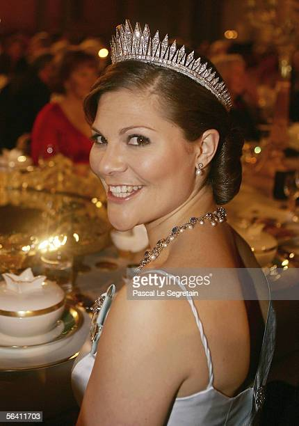 Crown Princess Victoria of Sweden attends the Nobel Banquet at City Hall on December 10 2005 in Stockholm Sweden