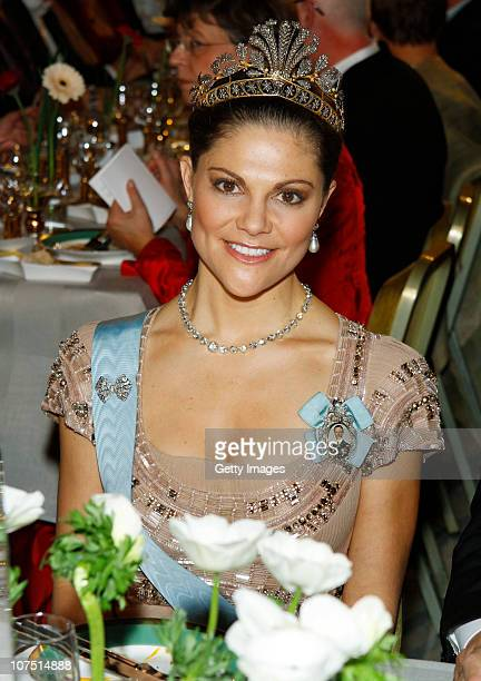 Crown Princess Victoria of Sweden attends the Nobel Banquet at the Stockholm City Hall on December 10 2010 in Stockholm Sweden The banquet features a...