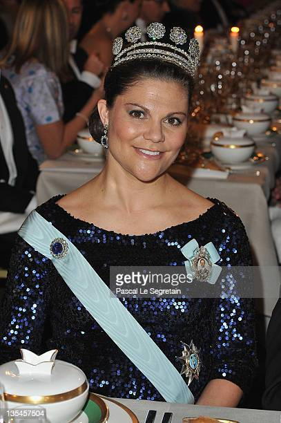 Crown Princess Victoria of Sweden attends the Nobel Banquet at the City Hall on December 10 2011 in Stockholm Sweden