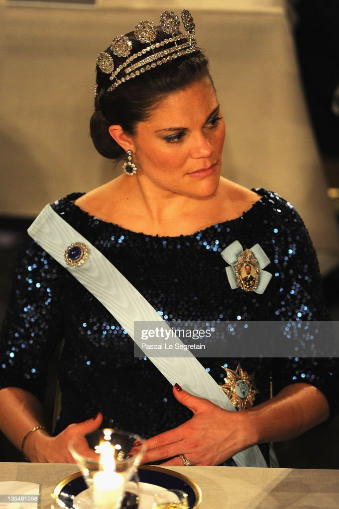 Crown Princess Victoria of Sweden attends the Nobel Banquet at the City Hall on December 10, 2011 in Stockholm, Sweden.