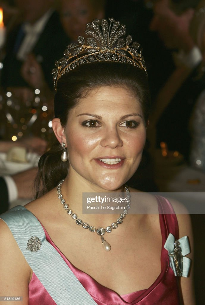 Crown Princess Victoria of Sweden attends the Nobel banquet at the City Hall on December 10, 2004 in Stockholm, Sweden. The prizes were being awarded at simultaneous ceremonies in Stockholm and Oslo, Norway.