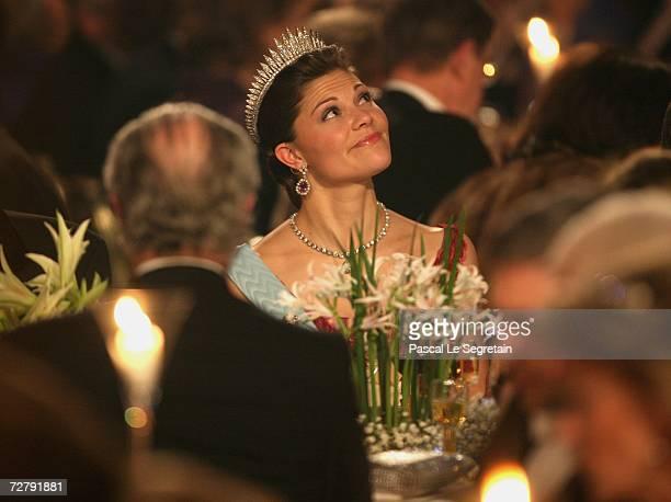 Crown Princess Victoria of Sweden attends the Nobel Banquet at the City Hall on December 10, 2006 in Stockholm, Sweden.