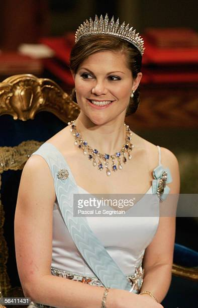 Crown Princess Victoria of Sweden attends the Nobel Foundation Prize 2005 at the Concert Hall on December 10 2005 in Stockholm Sweden