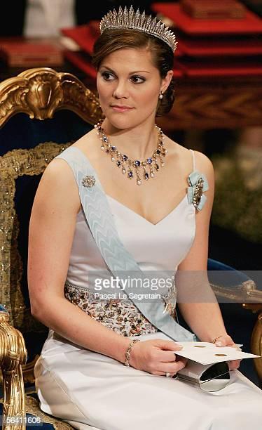 Crown Princess Victoria of Sweden attends the Nobel Foundation Prize 2005 at the Concert Hall on December 10 2005 in Stockholm Sweden