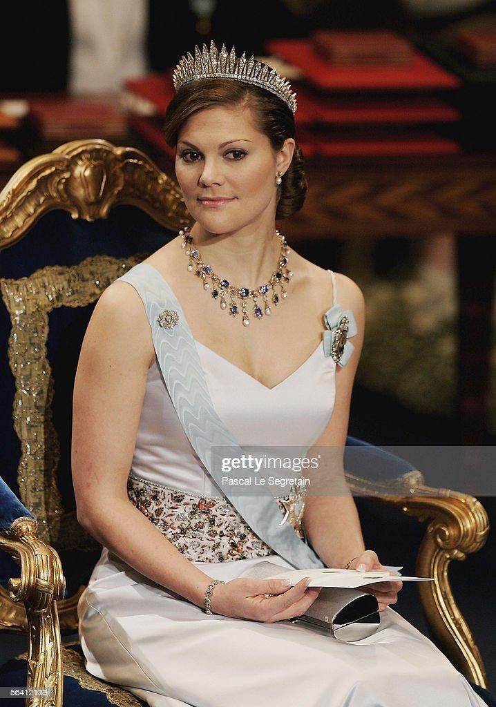 Crown Princess Victoria of Sweden attends the Nobel Foundation Prize 2005 at the Concert Hall on December 10, 2005 in Stockholm, Sweden.