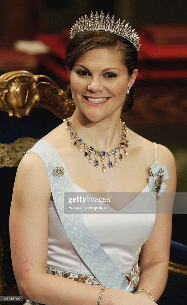 Crown Princess Victoria of Sweden attends the Nobel Foundation Prize 2005 at the Concert Hall on December 10, 2005 in Stockholm, Sweden.