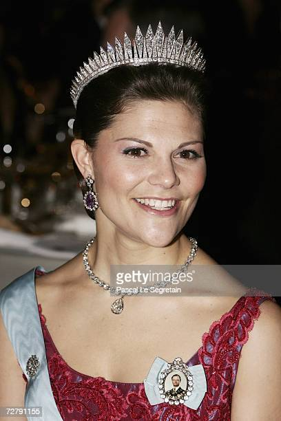 Crown Princess Victoria of Sweden attends the Nobel Foundation Prize 2006 Gala Dinner at the City Hall on December 10 2006 in Stockholm Sweden