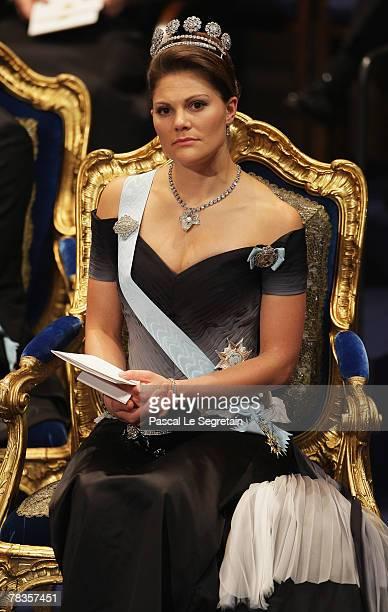 Crown Princess Victoria of Sweden attends the Nobel Foundation Prize 2007 Awards Ceremony at the Concert Hall on December 10, 2007 in Stockholm,...