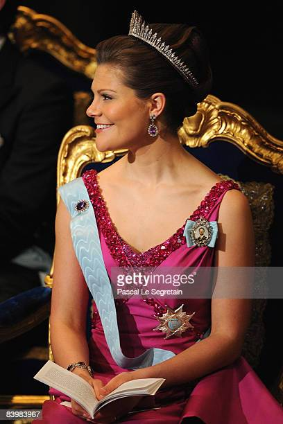 Crown Princess Victoria of Sweden attends the Nobel Foundation Prize 2008 Awards Ceremony at the Concert Hall on December 10 2008 in Stockholm Sweden