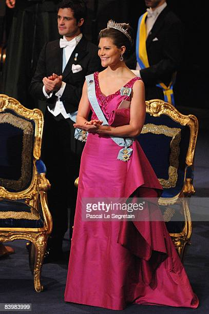 Crown Princess Victoria of Sweden attends the Nobel Foundation Prize 2008 Awards Ceremony at the Concert Hall on December 10 2008 in Stockholm Sweden